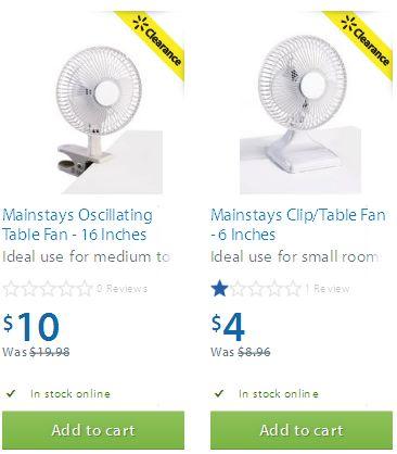 两款 Mainstays Oscillating Table Fan (6 Inches &16 Inches)电风扇半价清仓