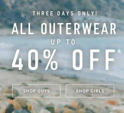 Hollister 冬衣外套6折起特卖,满100元再优惠15元