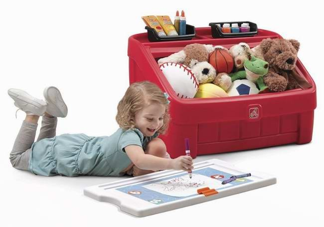 Step 2® 2-In-1 Toy Box With Art Board Lid儿童玩具箱带画板37.99元特卖