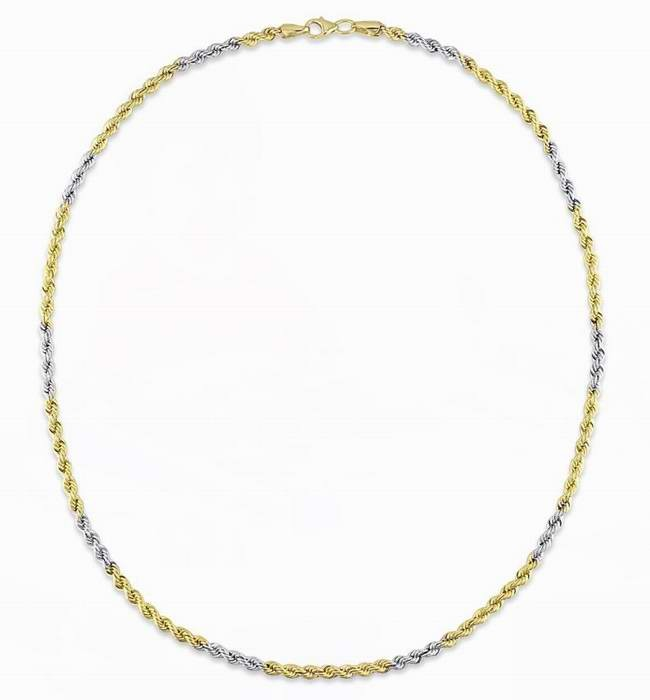 "SONO DI'ORO 10kt Bonded Silver 18"" Yellow/Rhodium Rope Chain 项链2折清仓再减10元并包邮!"