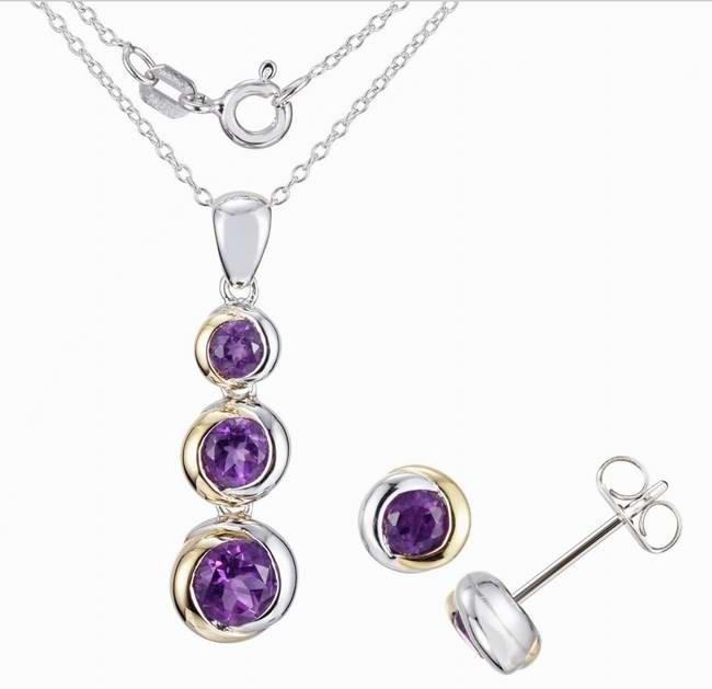 Tradition®/MD Sterling silver purple cz graduated stone pendant & stud earring set 925银制项链耳环套装2折清仓再减10元!