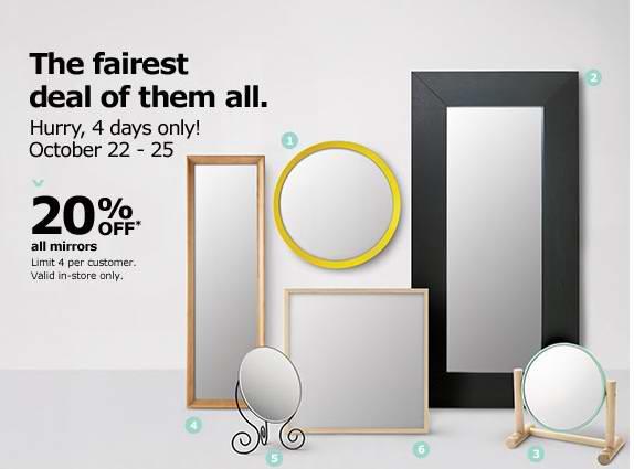 10月22日-10月25日IKEA所有镜子8折特卖