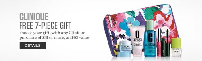 Sears店内购买Clinique倩碧护肤化妆品满31元送价值85元7件套化妆品套装