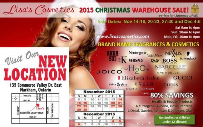 Lisas Cosmetics 2015 Christmas Warehouse Sale化妆品圣诞特卖会,各大品牌化妆品、护肤品、香水、保健品等2折起!(11月14日-12月6日)