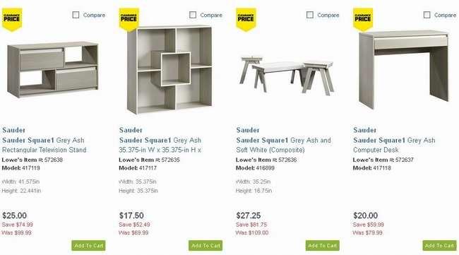 再次恢复清仓价!Sauder Square1 Grey Ash 系列家具全部2.5折清仓了!满50元再优惠10元!满125元优惠30元!
