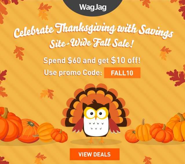 WagJag感恩节活动,全站团购满60元优惠10元