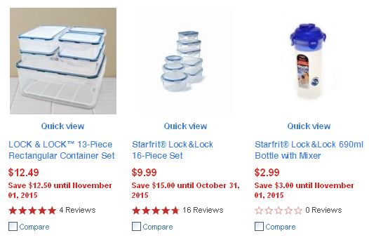 Sears三款Lock & Lock保鲜盒及水杯4-5折特卖,满24元立减10元