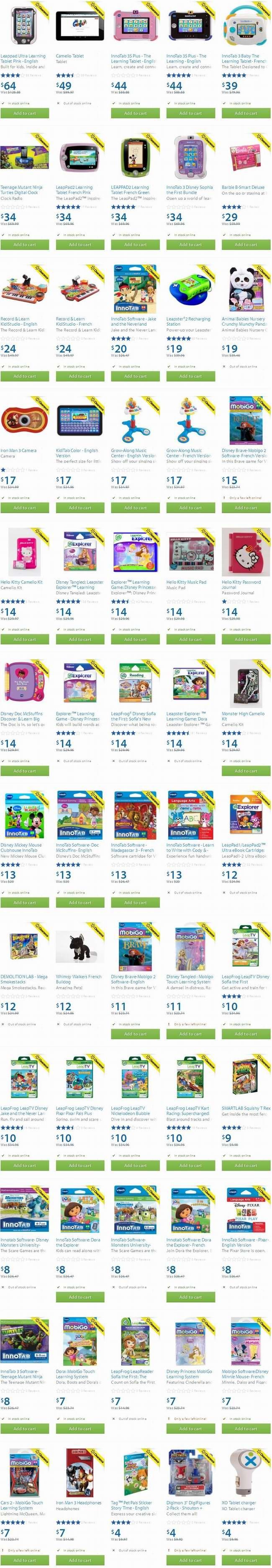 Walmart 数十款电子玩具、电子琴、儿童学习平板及软件2.5至5折清仓
