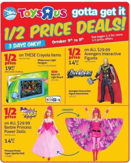 Toys R Us & Babies R Us本周(2015.10.9-2015.10.15)打折海报,Travel Systems、Dolls及Playsets今日起特卖!