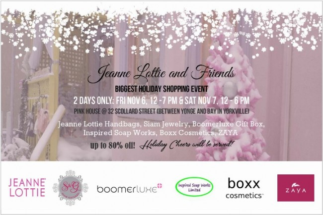 Jeanne Lottie and Friends Biggest Holiday Shopping Event 特卖会,全场手袋、首饰、化妆品、礼盒等两折起清仓!(11月6日-7日)