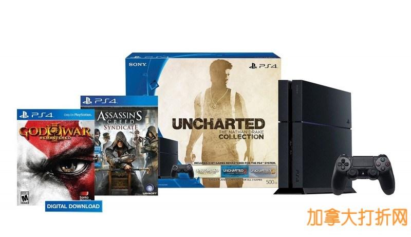 PS4 500GB 神秘海域套装+刺客信条+战神3 游戏特卖369.99元,原价549.99元,包邮