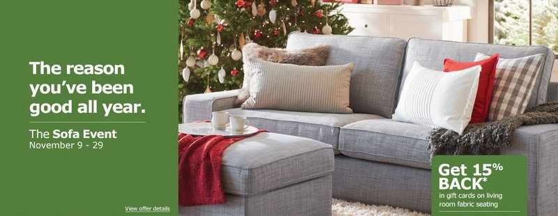 11月9日-11月29日购买IKEA布艺沙发送15%的家具购物券