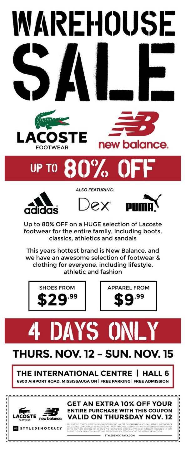 Lacoste & New Balance Warehouse Sale 特卖会本周四开卖,全场2折起,鞋子29.99元起,服饰9.99元起,首日额外9折!(11月12日-15日)