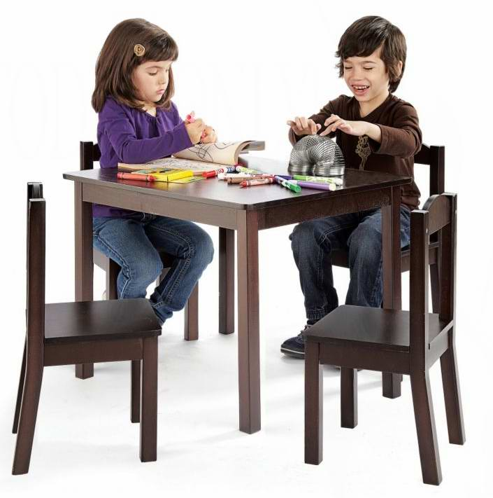 Tot tutors kid sized table with 4 chairs sets 5 for Division 2 table 98 99