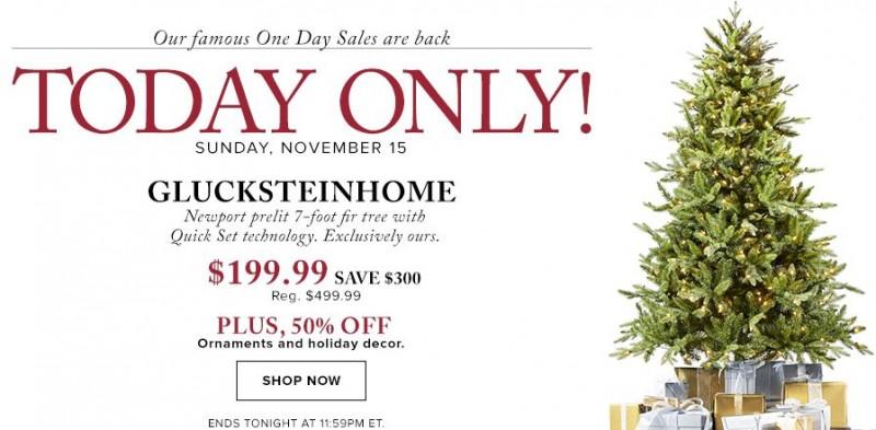 The Bay今日限时特卖!GLUCKSTEINHOME Newport 7 ft. Pre-Lit Fir Tree (1705 tips) 圣诞树4折199.99元包邮!还有近300款精美圣诞饰品、礼品全部半价特卖!