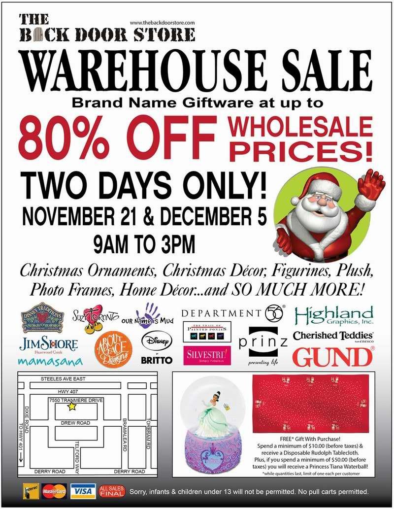 Back Door Store Warehouse Sale特卖会,各种名牌礼品2折起清仓,仅限11月21日及12月5日!