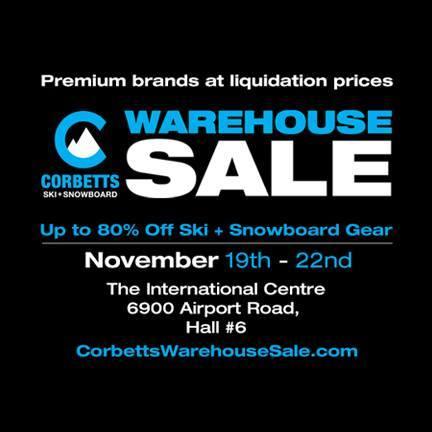 Corbetts Ski and Snowboard Warehouse Sale滑雪装备特卖会本周四开卖!全场2折起清仓!(11月19日-22日)