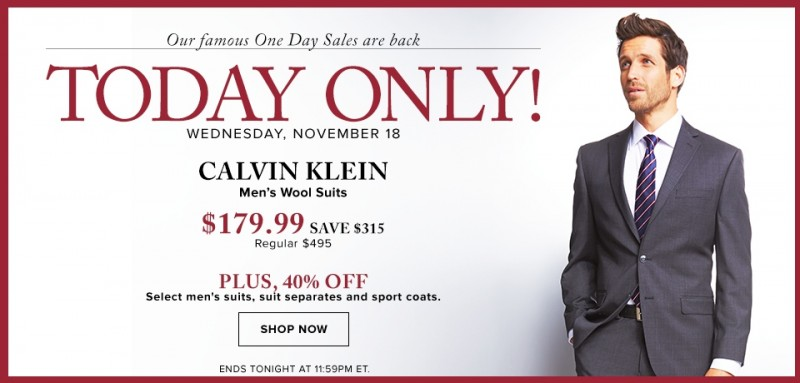 The Bay 今日限时白菜价抢购!Calvin Klein 20款原价495元100%纯羊毛西服套装仅售179.99元!指定款西裤3折清仓,其他款西服、西裤全部6折!