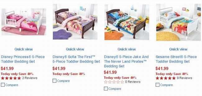 4款Disney 5-Piece Toddler Bedding Set 儿童床上用品5件套31.99元特卖