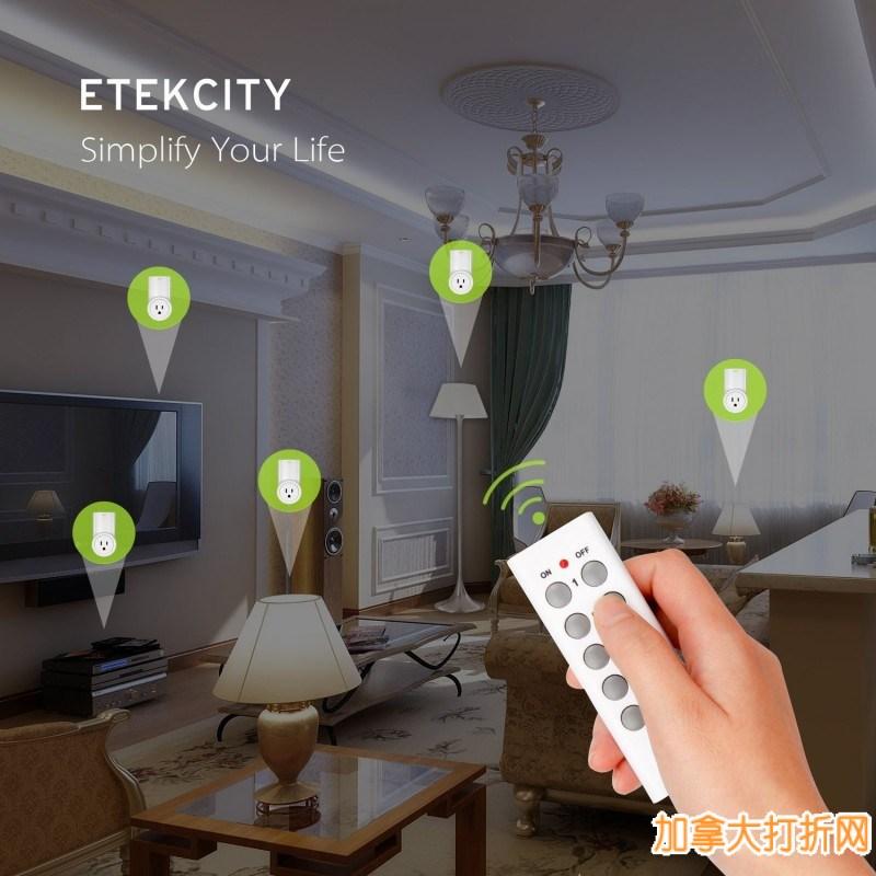 最新版Etekcity无线遥控开关(2个)/无线遥控插座(5个)套装4.2折 39.99元限时特卖并包邮!特别适合老人、小孩、残疾人和懒人使用!