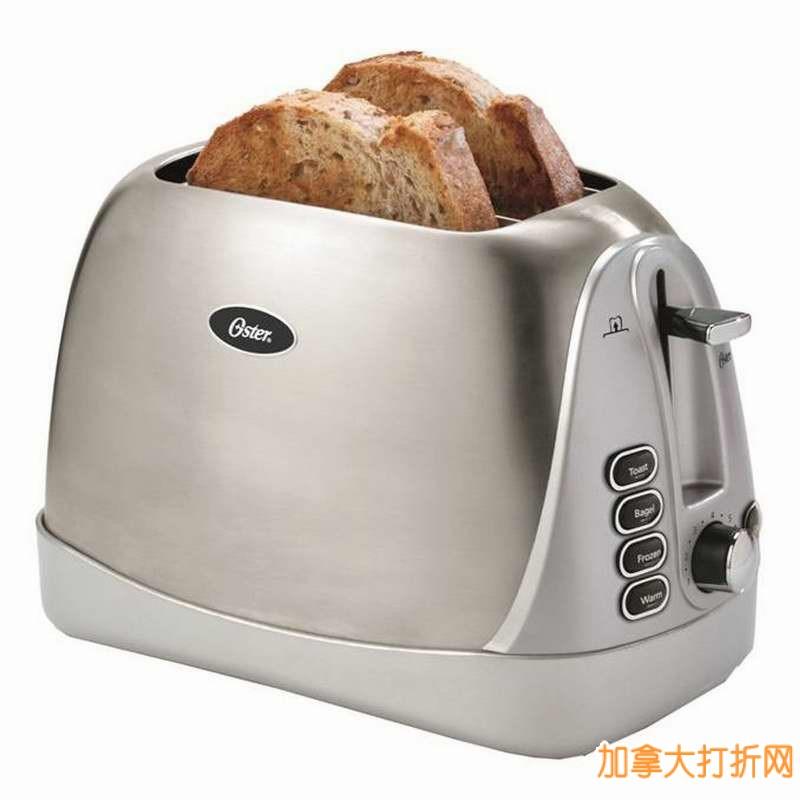Oster 2片烤面包机4.4折19.99元特卖,外壳可选红色或不锈钢!