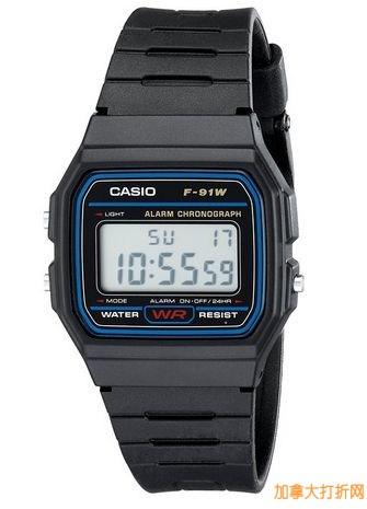 销量冠军!Casio 卡西欧 F91W-1 男士电子腕表 13加元!