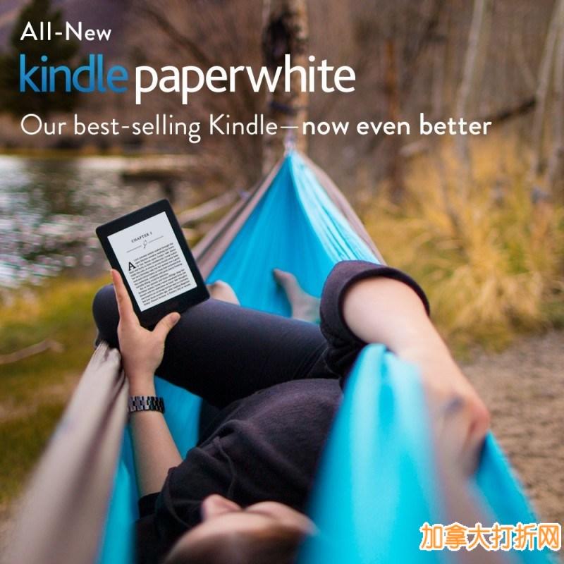 不伤眼看书神器!Kindle 6寸 Paperwhite 高分辨率带背光电子书阅读器119.99元包邮!