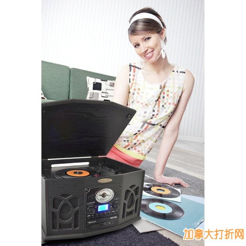 Pyle-Home经典款老式胶片多功能木质播放器3.8折199.99元限量特卖!可播放CD/MP3/卡带/AM/FM广播/USB/SD等
