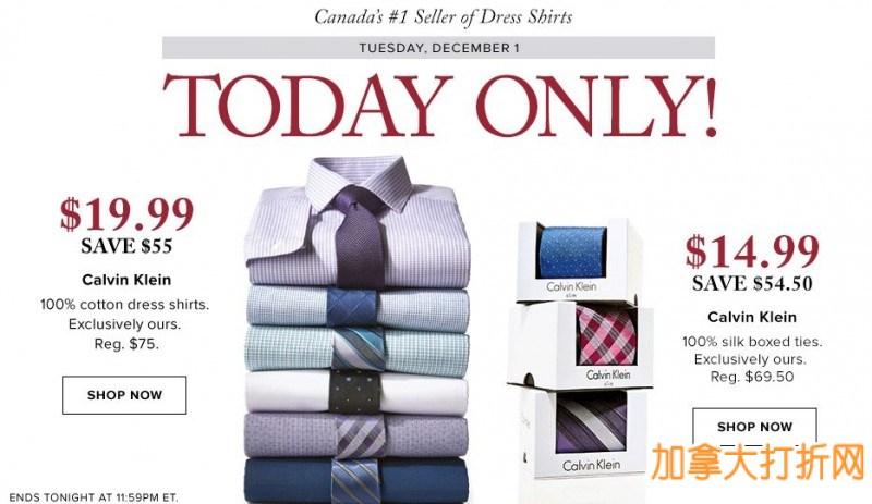 加拿大销量第一的Calvin Klein正装衬衫(41款)2.6折19.99元特卖,Calvin Klein领带(44款)2.7折14.99元特卖!仅限今日!