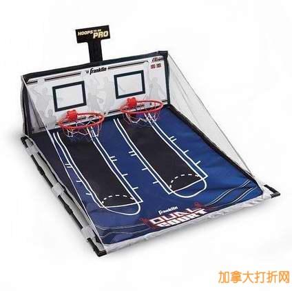冬天不再怕缺乏运动了!Franklin Sports Hoops To Go Dual Hoop Game Set 室内投篮游戏套装(带4个球)仅售19.99元!
