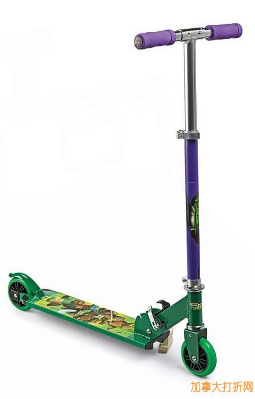 Teenage Mutant Ninja Turtles 2 Wheeled Folding Aluminum Scooter可折叠两轮儿童滑板车19.99元特卖!