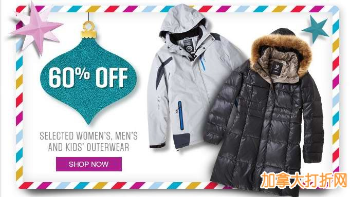 Sears精选近200款成人儿童冬季防寒服全部4折特卖,额外8.8折或立减10元!全场包邮,仅限今日!