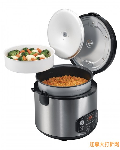 Hamilton Beach 37536 Digital Simplicity Rice Cooker 20杯大容量不锈钢数字多功能电饭煲29.94元清仓!