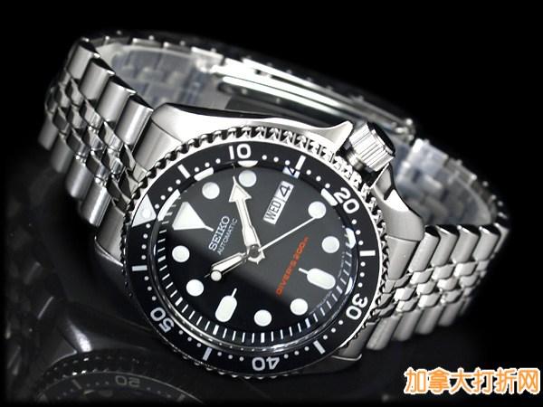 畅销热款,翻版劳力士!Seiko精工 SKX007K2 专业潜水员系列机械时尚男表200.8元特卖并包邮!