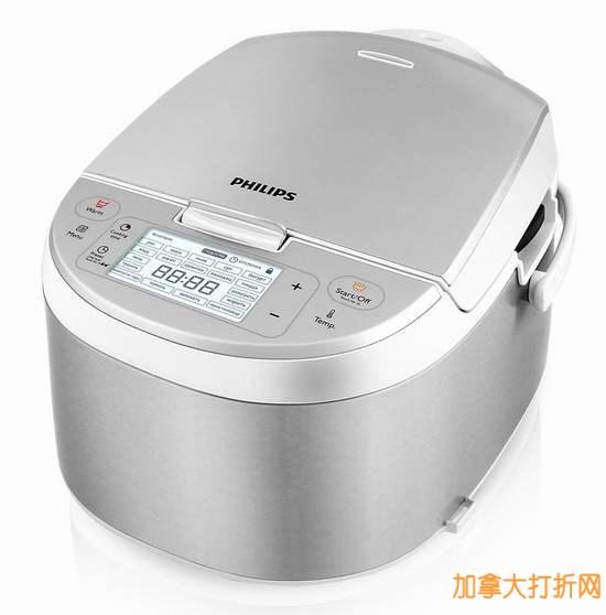 超厚纳米陶瓷内胆,360度三维立体加热,引领煮饭新革命!Philips飞利浦 HD3095/87 智能多功能电饭煲历史最低价149.99元特卖!