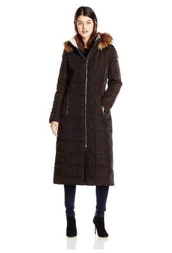 Calvin Klein 女士长款毛领防寒服外套145元特卖,原价455元,包邮