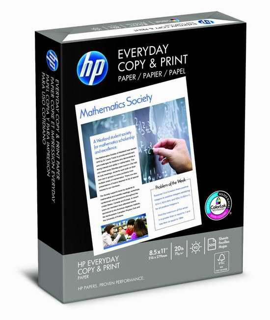 HP Everyday 500张打印复印多用途纸5.47元特卖!
