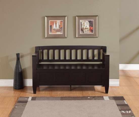 Simpli Home Brooklyn 2人座实木储物长椅/门厅座椅3.9折 159.98元特卖并包邮!