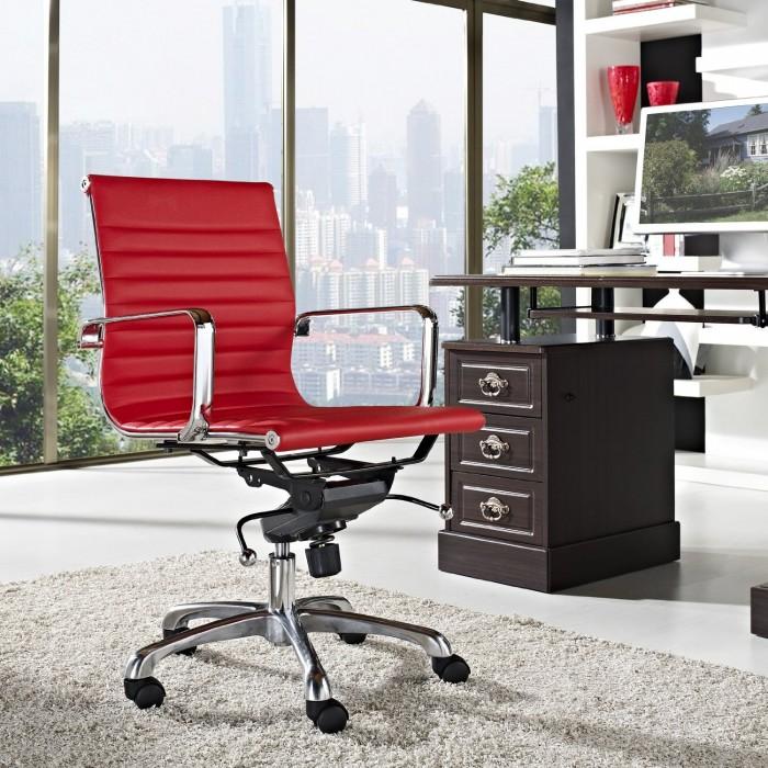 LexMod 红色现代风格人体工学办公椅2.5折 120.1元限时特卖并包邮!比美国便宜362元!