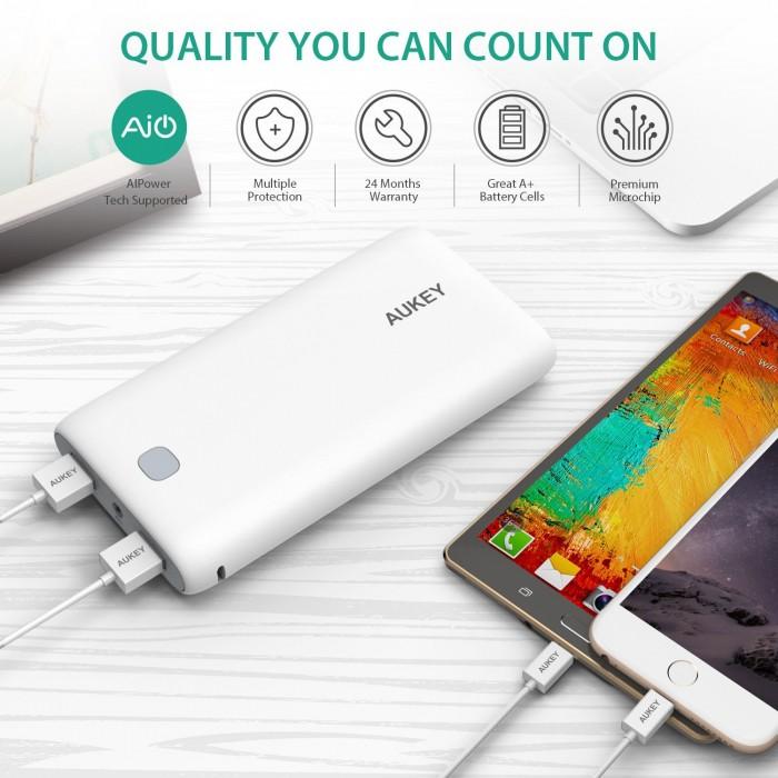 Aukey 20000mAh 双口便携式快速充电移动电源/充电宝 29.99加元!