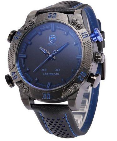 创意概念个性腕表!Shark 男士黑兰色防水LED腕表特价44.04元,原价81.09元,包邮