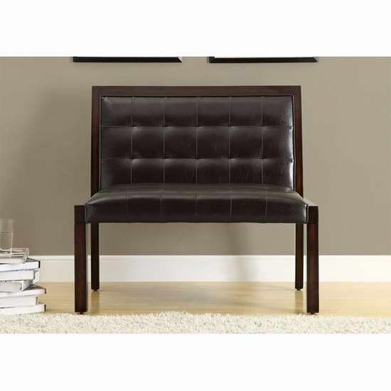 历史最低价!Monarch Specialties 40英寸人造革木质长椅1.6折 108.58元限时特卖并包邮!