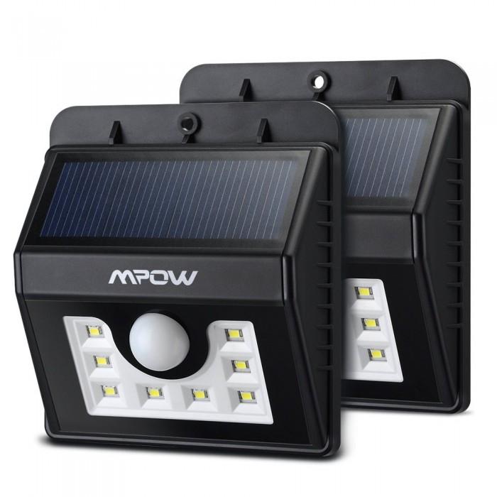 更亮更灵敏!2016最新款Mpow 8 LED 太阳能运动感应灯2件套3.9折 32.29元限量特卖并包邮!