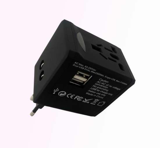 Magicfly 国际旅行转换插座,带2.5A双USB充电+电涌保护 7.5折12.7元限时特卖!