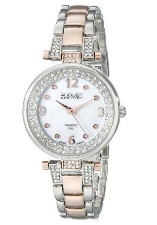 August Steiner AS8137TTR 时尚女士钻石瑞士石英腕表45.99元,原价395元,包邮