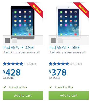 iPad Air Wi-Fi 16GB/32GB 9.7寸平板电脑 立减60元,仅售378-428元并包邮!两色可选!