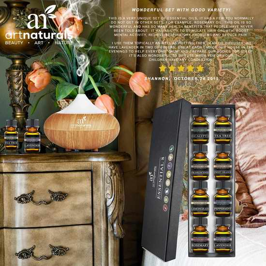 Art Naturals 顶级全天然理疗级认证香薰精油8件套23.99元特卖!