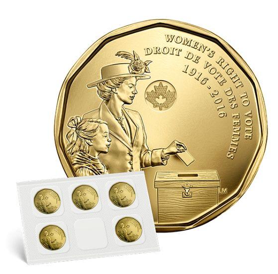 价值5元加拿大妇女获投票权100周年1元纪念币5件套 5元限时特卖并包邮!