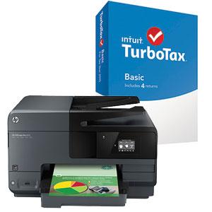 大幅降低打印成本!HP 惠普 Officejet Pro 8610 数码彩色多功能喷墨一体打印机 + INTUIT TURBOTAX BASIC 2015报税软件 3折74.99元限时特卖并包邮!