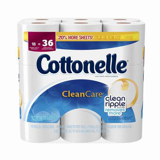 Cottonelle Clean Care 超柔卫生纸18卷装5.3折 7.98元限时特卖!